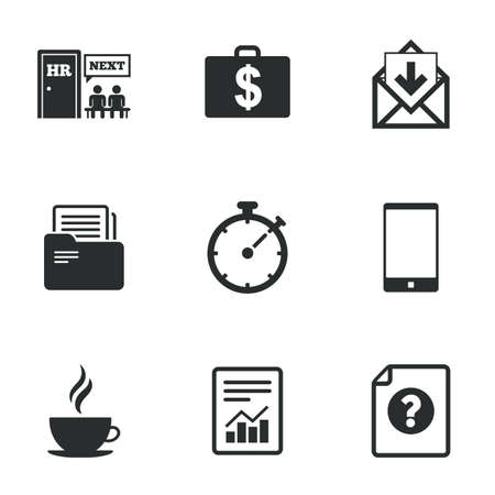 office documents: Office, documents and business icons. Accounting, human resources and phone signs. Mail, salary and statistics symbols. Flat icons on white. Vector