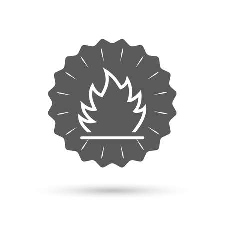 escape: Vintage emblem medal. Fire flame sign icon. Heat symbol. Stop fire. Escape from fire. Classic flat icon. Vector Illustration