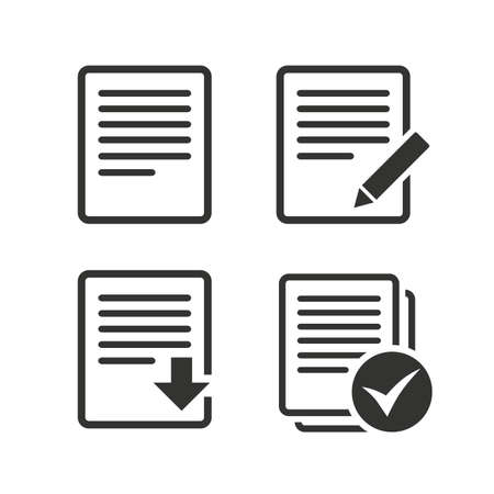 checkbox: File document icons. Download file symbol. Edit content with pencil sign. Select file with checkbox. Flat icons on white. Vector Illustration