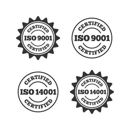 ISO 9001 and 14001 certified icons. Certification star stamps symbols. Quality standard signs. Flat icons on white. Vector