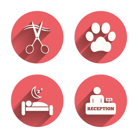 white dog: Hotel services icons. With pets allowed in room signs. Hairdresser or barbershop symbol. Reception registration table. Quiet sleep. Pink circles flat buttons with shadow. Vector