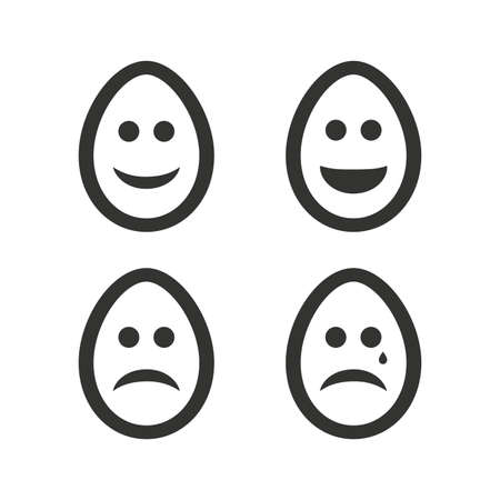 Eggs happy and sad faces icons. Crying smiley with tear symbols. Tradition Easter Pasch signs. Flat icons on white. Vector Illustration