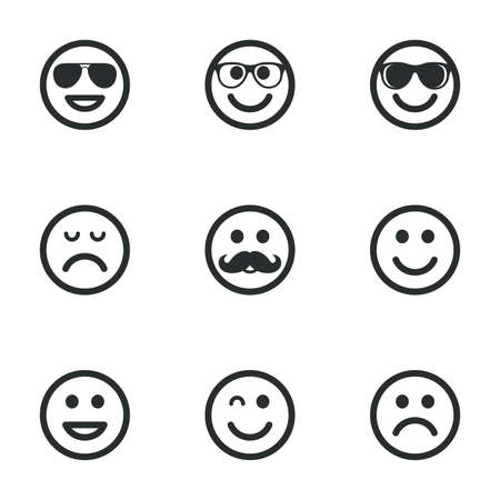 sorrowful: Smile icons. Happy, sad and wink faces signs. Sunglasses, mustache and laughing lol smiley symbols. Flat icons on white. Vector