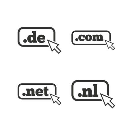 nl: Top-level internet domain icons. De, Com, Net and Nl symbols with cursor pointer. Unique national DNS names. Flat icons on white. Vector Illustration