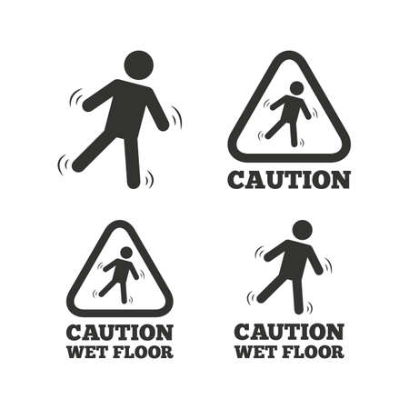 wet floor caution sign: Caution wet floor icons. Human falling triangle symbol. Slippery surface sign. Flat icons on white. Vector Illustration