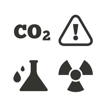 danger carbon dioxide  co2  labels: Attention and radiation icons. Chemistry flask sign. CO2 carbon dioxide symbol. Flat icons on white. Vector