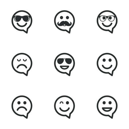 happy sad: Smile speech bubbles icons. Happy, sad and wink faces signs. Sunglasses, mustache and laughing lol smiley symbols. Flat icons on white. Vector