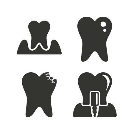 gingivitis: Dental care icons. Caries tooth sign. Tooth endosseous implant symbol. Parodontosis gingivitis sign. Flat icons on white. Vector Illustration