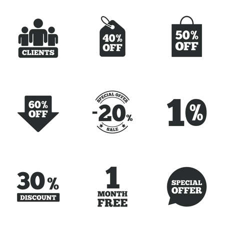 30 to 40: Sale discounts icon. Shopping, clients and speech bubble signs. 20, 30, 40 and 50 percent off. Special offer symbols. Flat icons on white. Vector Illustration