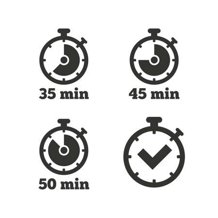 min: Timer icons. 35, 45 and 50 minutes stopwatch symbols. Check or Tick mark. Flat icons on white. Vector