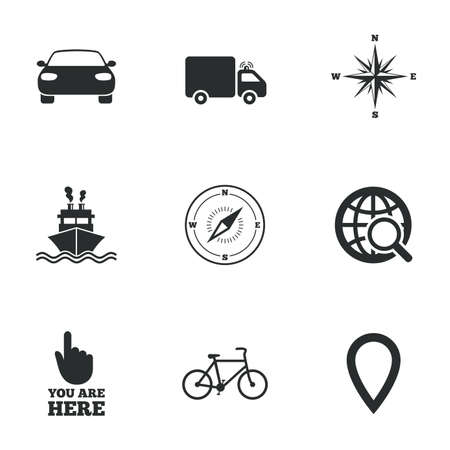 Navigation Gps Icons Windrose Compass And Map Pointer Signs