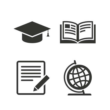 write: Pencil with document and open book icons. Graduation cap and geography globe symbols. Learn signs. Flat icons on white. Vector Illustration