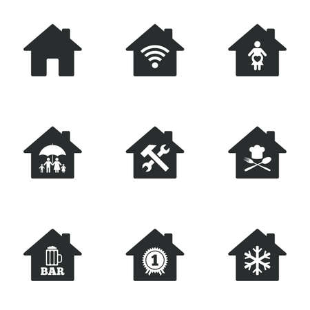 air hammer: Real estate icons. Home insurance, maternity hospital and wifi internet signs. Restaurant, service and air conditioning symbols. Flat icons on white. Vector Illustration