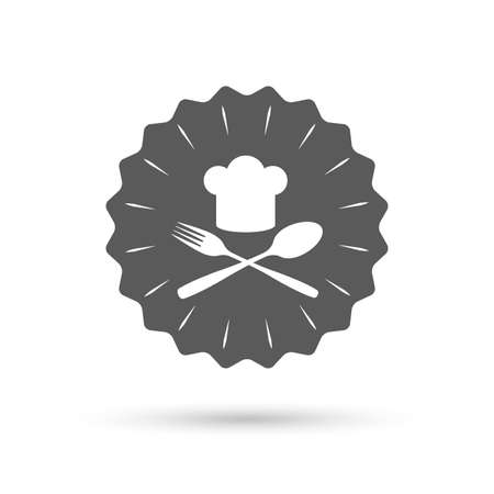 cooking chef: Vintage emblem medal. Chef hat sign icon. Cooking symbol. Cooks hat with fork and spoon. Classic flat icon. Vector