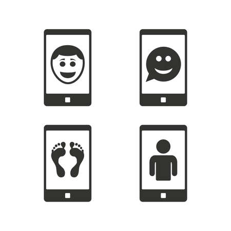 video call: Selfie smile face icon. Smartphone video call symbol. Self feet or legs photo. Flat icons on white. Vector