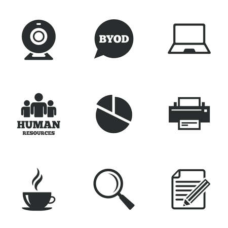office documents: Office, documents and business icons. Pie chart, byod and printer signs. Report, magnifier and web camera symbols. Flat icons on white. Vector