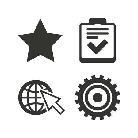 checklist: Star favorite and globe with mouse cursor icons. Checklist and cogwheel gear sign symbols. Flat icons on white. Vector Illustration