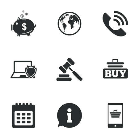 auction: Online shopping, e-commerce and business icons. Auction, phone call and information signs. Piggy bank, calendar and smartphone symbols. Flat icons on white. Vector