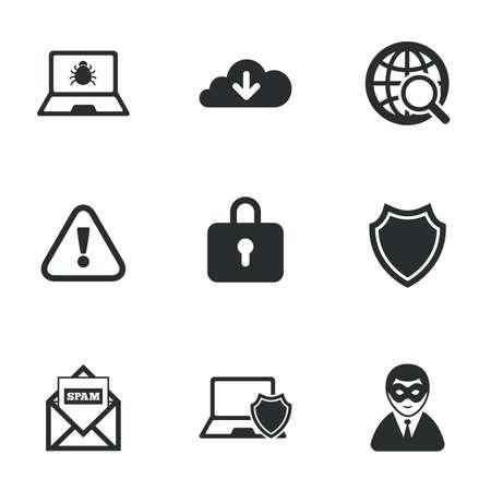 privacidad: Iconos de privacidad en Internet. Signos delincuencia cibernética. Virus, spam de correo electrónico y símbolos de usuario anónimo. Iconos planos en blanco. Vector