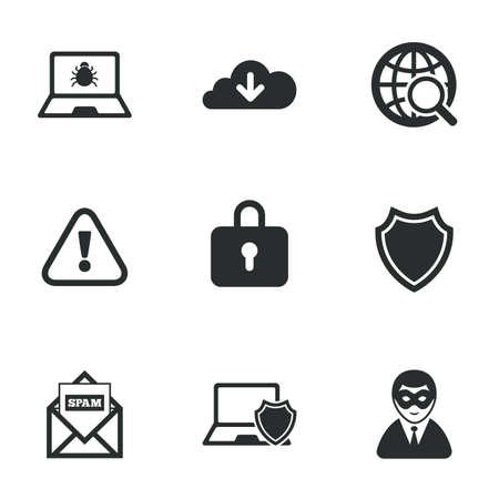Internet privacy icons. Cyber crime signs. Virus, spam e-mail and anonymous user symbols. Flat icons on white. Vector Ilustração