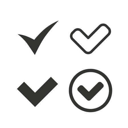 Check icons. Checkbox confirm circle sign symbols. Flat icons on white. Vector Ilustração