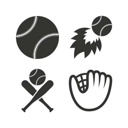 crosswise: Baseball sport icons. Ball with glove and two crosswise bats signs. Fireball symbol. Flat icons on white. Vector