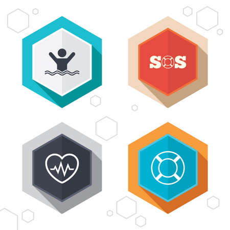 Hexagon buttons. SOS lifebuoy icon. Heartbeat cardiogram symbol. Swimming sign. Man drowns. Labels with shadow. Vector Illustration