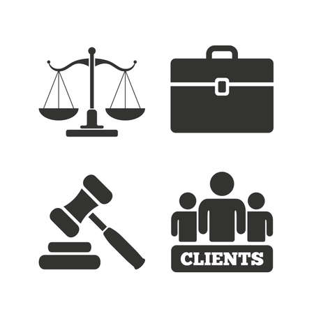 martillo juez: Scales of Justice icon. Group of clients symbol. Auction hammer sign. Law judge gavel. Court of law. Flat icons on white. Vector Vectores