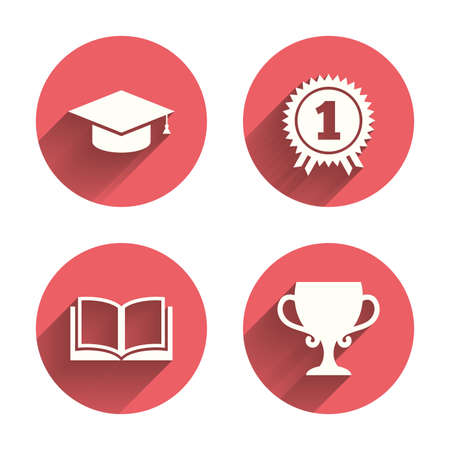 pink cap: Graduation icons. Graduation student cap sign. Education book symbol. First place award. Winners cup. Pink circles flat buttons with shadow. Vector