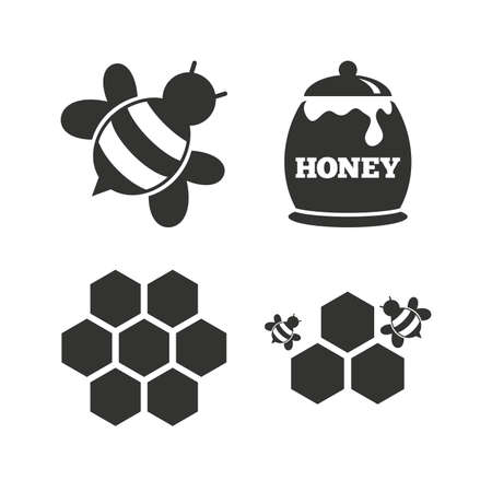 fructose: Honey icon. Honeycomb cells with bees symbol. Sweet natural food signs. Flat icons on white. Vector