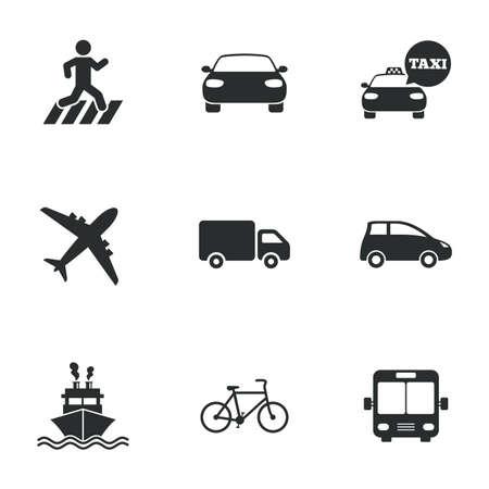 Iconos del transporte. Signos coche, bicicleta, autobús y taxi. La entrega del envío, símbolos de cruce peatonal. Iconos planos en blanco. Vector Ilustración de vector