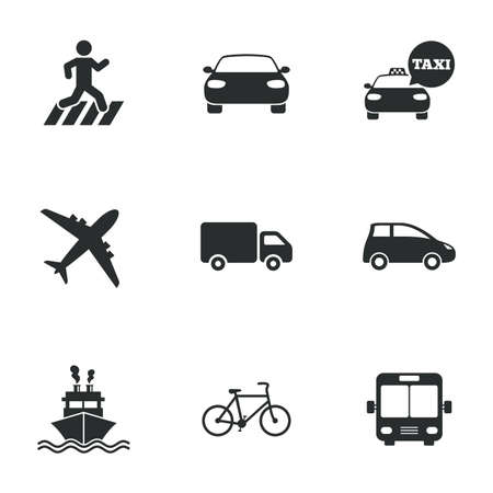 Transport icons. Car, bike, bus and taxi signs. Shipping delivery, pedestrian crossing symbols. Flat icons on white. Vector