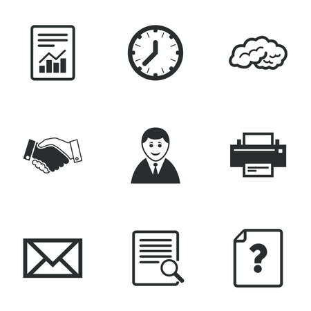 office documents: Office, documents and business icons. Deal, mail and businessman signs. Report, magnifier and brain symbols. Flat icons on white. Vector
