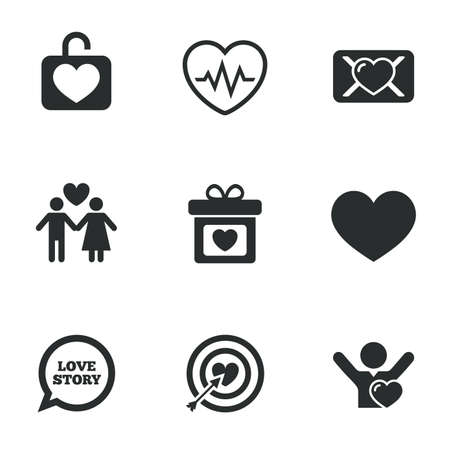 oath: Love, valentine day icons. Target with heart, oath letter and locker symbols. Couple lovers, heartbeat signs. Flat icons on white. Vector