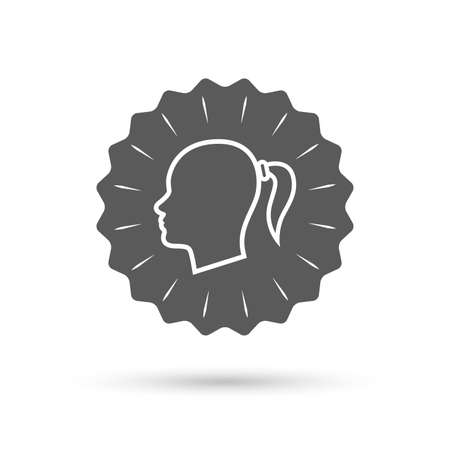 pigtail: Vintage emblem medal. Head sign icon. Female woman human head with pigtail symbol. Classic flat icon. Vector Illustration