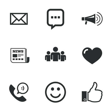 telephone icon: Mail, news icons. Conference, like and group signs. E-mail, chat message and phone call symbols. Flat icons on white. Vector Illustration