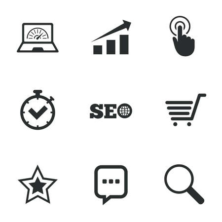Internet Seo Icons Tick Online Shopping And Chart Signs