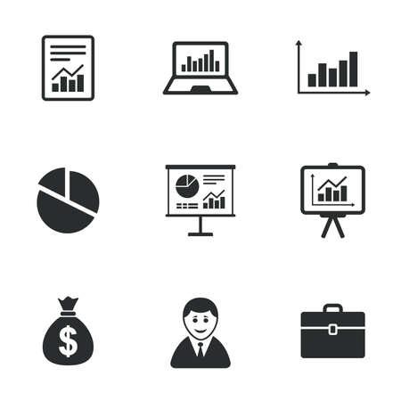 Estadísticas, iconos de contabilidad. Cuadros, presentación y gráfico de sectores signos. Análisis, informes y casos de negocio símbolos. Iconos planos en blanco. Vector