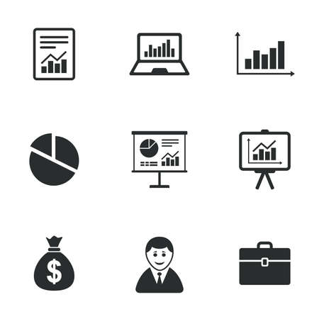 Statistics, accounting icons. Charts, presentation and pie chart signs. Analysis, report and business case symbols. Flat icons on white. Vector
