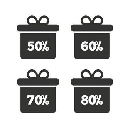 50 to 60: Sale gift box tag icons. Discount special offer symbols. 50%, 60%, 70% and 80% percent discount signs. Flat icons on white. Vector Illustration