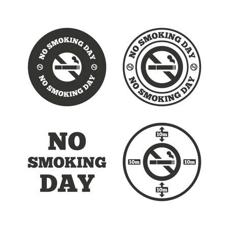 opium: No smoking day icons. Against cigarettes signs. Quit or stop smoking symbols. Flat icons on white. Vector Illustration