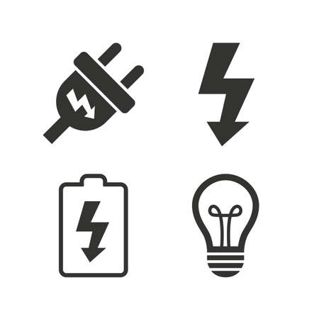 Electric plug icon. Lamp bulb and battery symbols. Low electricity and idea signs. Flat icons on white. Vector