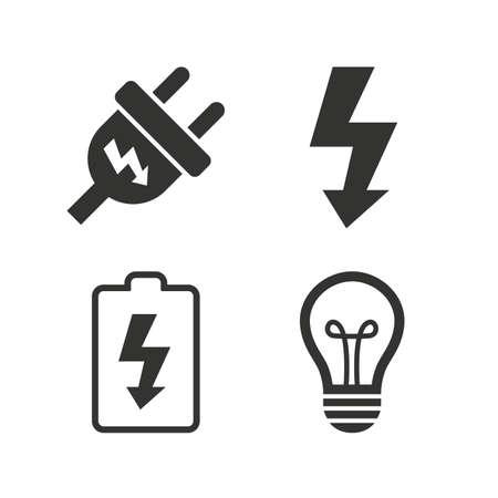 electricidad: Icono de enchufe eléctrico. Bombilla de la lámpara y los símbolos de la batería. Electricidad y signos idea Bajos. Iconos planos en blanco. Vector