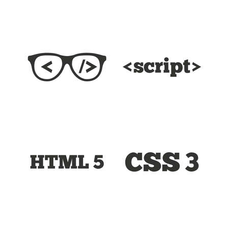 css3: Programmer coder glasses icon. HTML5 markup language and CSS3 cascading style sheets sign symbols. Flat icons on white. Vector