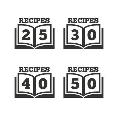 25 30: Cookbook icons. 25, 30, 40 and 50 recipes book sign symbols. Flat icons on white. Vector