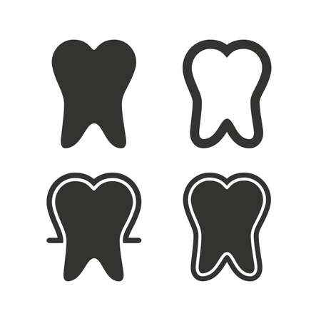 enamel: Tooth enamel protection icons. Dental care signs. Healthy teeth symbols. Flat icons on white. Vector