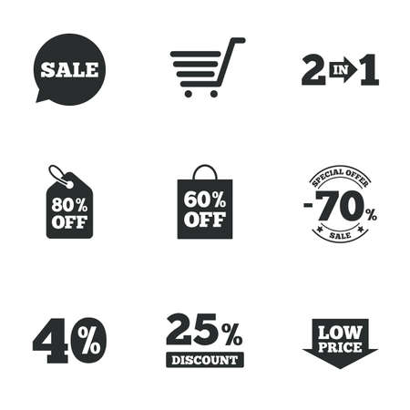 low price: Sale discounts icon. Shopping cart, coupon and low price signs. 25, 40 and 60 percent off. Special offer symbols. Flat icons on white. Vector