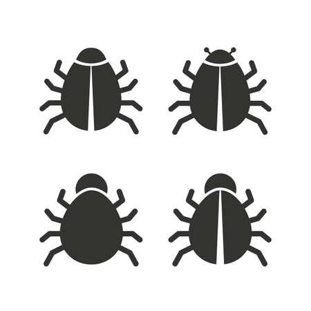 vaccination: Bugs vaccination icons. Virus software error sign symbols. Flat icons on white. Vector Illustration