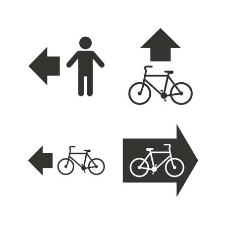 pedestrian sign: Pedestrian road icon. Bicycle path trail sign. Cycle path. Arrow symbol. Flat icons on white. Vector