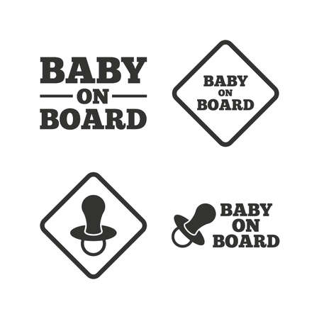 nipple: Baby on board icons. Infant caution signs. Nipple pacifier symbol. Flat icons on white. Vector